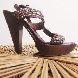 Frye Studded Joy Slingback Brown Platform Heels 8½